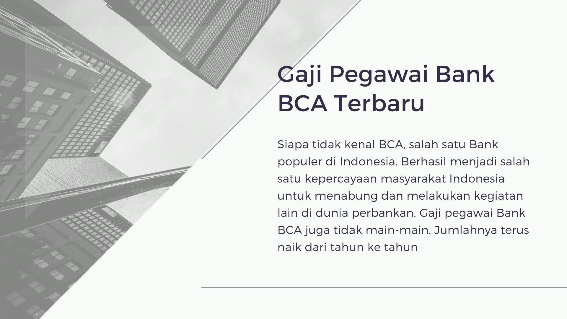 Gaji Pegawai Bank BCA